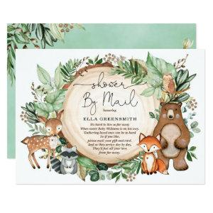 Cute Greenery Woodland Forest Baby Shower By Mail Invitation