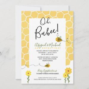 Cute Honeycomb Watercolor Bumble Bee Baby Shower