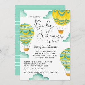 Cute Hot Air Balloons Baby Shower by Mail Invitation