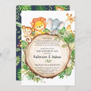 Cute Jungle Animals Baby Shower by Mail Greenery Invitation