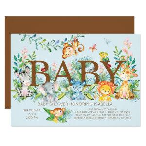 Cute Jungle Animals Boys Baby shower Invitation