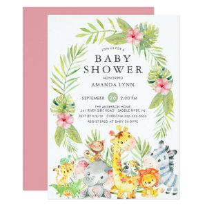 Cute Jungle Safari Girl Baby Shower Invitation