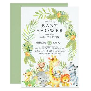 Cute Jungle Safari Neutral  Baby Shower Invitation