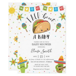 Cute Kawaii Taco 'Bout a Baby Fiesta Baby Shower Invitation