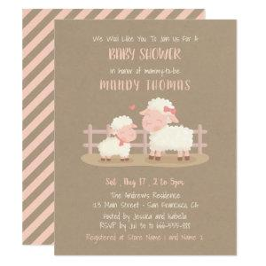 Cute Lamb and Mommy Baby Shower Party Invitations