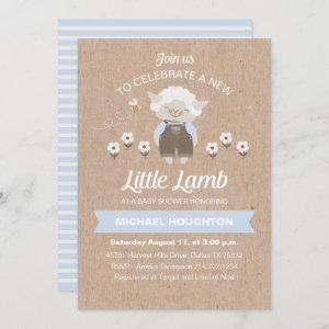 Cute Lamb Baby Boy Shower Invitation