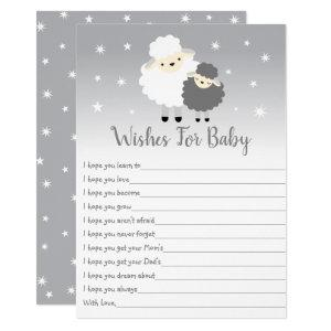 Cute Lamb Gray & White Wishes For Baby Invitation