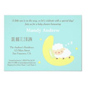Cute Lamb on Moon Baby Shower Party Invitations
