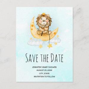 Cute Lion Fishing Watercolor Save the Date        Invitation Postcard