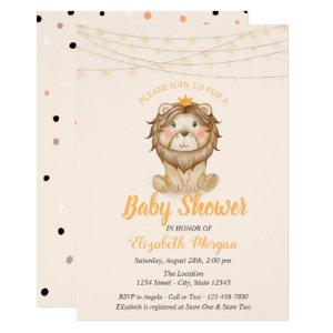 Cute Lion, String Lights,Dots Baby Shower Invitation