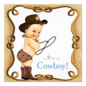 Cute Little Cowboy Baby Shower Invitation