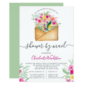 Cute long distance floral font baby shower by mail invitation