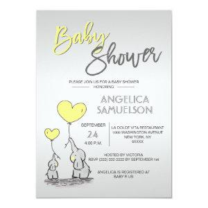 Cute Modern YELLOW Mommy Elephant & Baby Shower Invitation