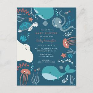 Cute Nautical Under The Sea Baby Shower Invitation Postcard