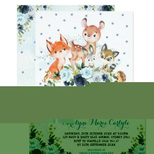 Cute Navy Blue Woodland Forest Animals Baby Shower Invitation