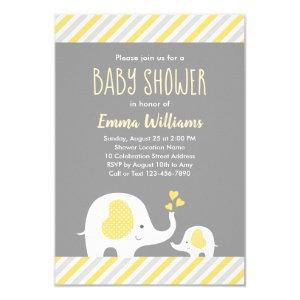 Cute Neutral Yellow Gray Elephant Baby Shower Invitation