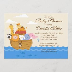 "Cute Noah""s Ark Baby Girl or Baby Boy Shower Invitation"