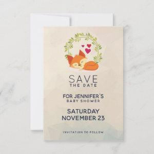 Cute Orange Fox with Green Wreath Baby Shower Save The Date