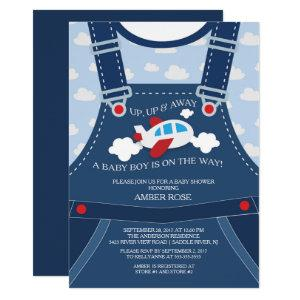 Cute Overalls Airplane Baby Shower Invitation