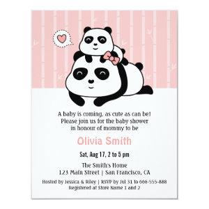 Cute Panda Cub and Mommy Baby Shower Invitations