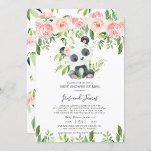Cute Panda Pink Floral Virtual Baby Shower by Mail Invitation
