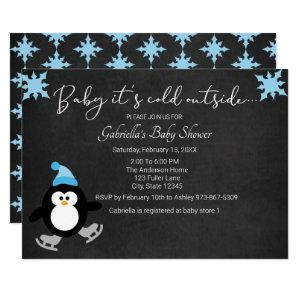 Cute Penguin Baby It's Cold Outside Baby Shower Invitation