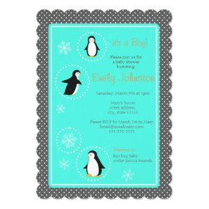 cute penguins boy baby shower invitation