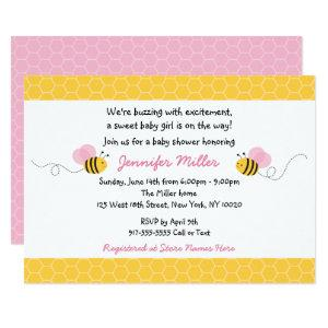 Cute Pink Bumble Bee Baby Shower Invitation