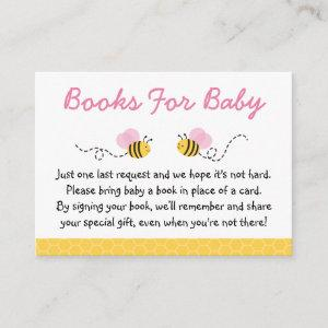 Cute Pink Bumble Bee Book Request Cards