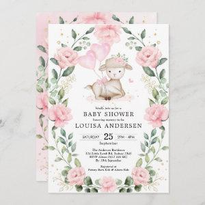 Cute Pink Floral Lamb Balloons Girl Baby Shower