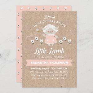 Cute Pink Lamb Baby Girl Shower Invitation