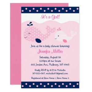Cute Pink & Navy Whale Baby Shower Invitation