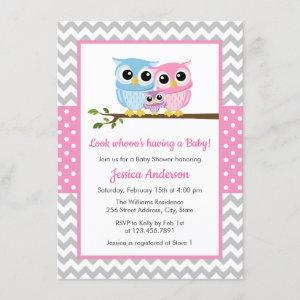Cute Pink Owl Family Gray Chevron Girl Baby Shower Invitation
