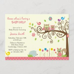 Cute Pink Owl Girl Baby Shower