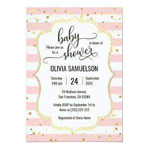 Cute Pink White Stripes Gold Black Baby Shower Invitation