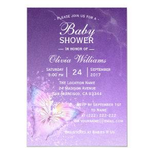 Cute Purple Butterfly Baby Shower Templates
