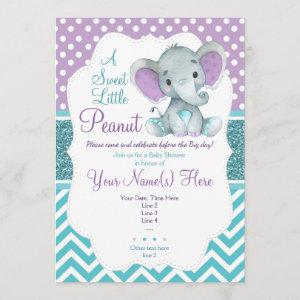 Cute Purple Teal Elephant Invitation Baby Shower