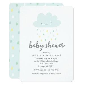 Cute Rainy Cloud Baby Shower Invitation in Blue