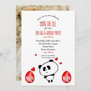 Cute Red Egg Ginger Party PHOTO Panda Bear Invites