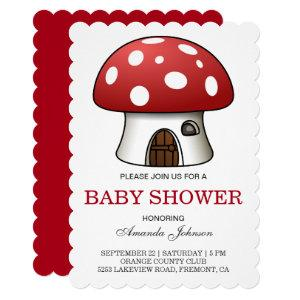 Cute Red Mushroom House Baby Shower Invitation
