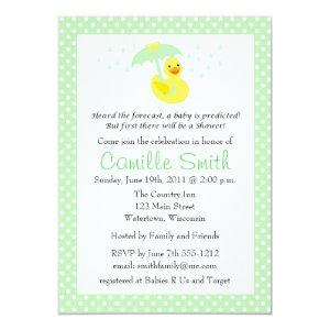 Cute Rubber Ducky Baby Shower Invitation