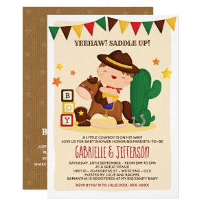 Cute Rustic Little Cowboy Baby Shower Theme Invitation