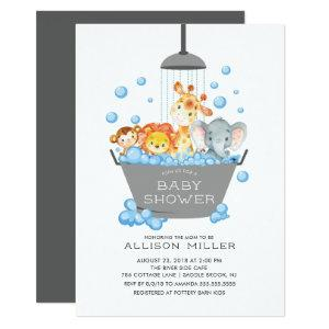 Cute Safari Animals Shower Baby Invitation