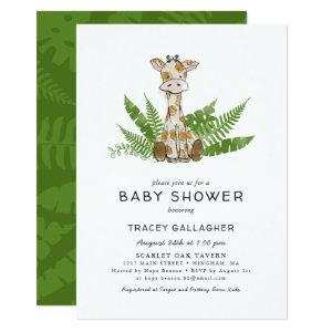 Cute Safari Giraffe with Jungle Leaves Baby Shower Invitation