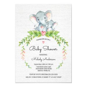 Cute Safari Jungle Elephant Baby Shower Invitation