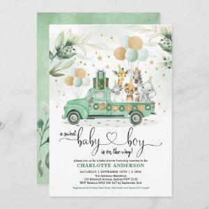 Cute Safari Jungle Greenery Wild Animals Baby Boy Invitation