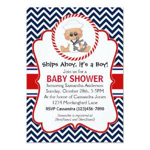 Cute Sailor Boy Nautical Baby Shower Invitation