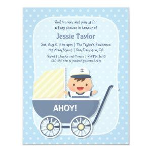 Cute Sailor in Stroller, Nautical Baby Shower Invitation