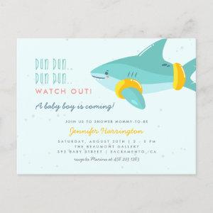 Cute Shark With Arm Bands Summer Baby Shower Invitation Postcard