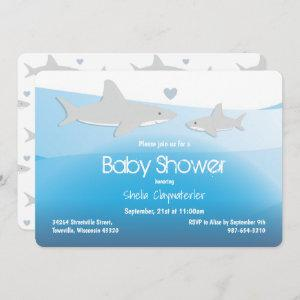 Cute Sharks and Ocean | Baby Shower Invitation